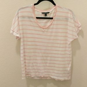 Calvin Klein Jeans Pink and White Striped Shirt